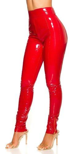 Latex look nohavice s vysokým pásom | Červená