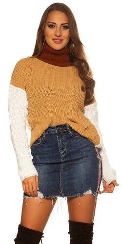 Trojfarebný pletený rolák | Biela