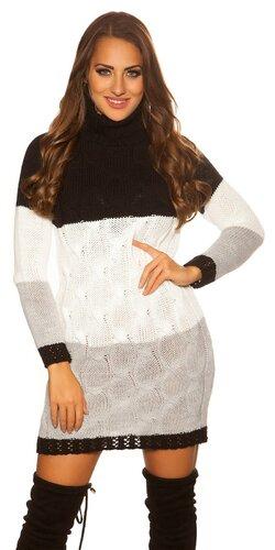 Trojfarebné úpletové rolákové šaty | Čierna