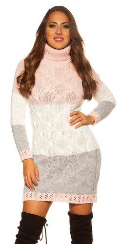 Trojfarebné úpletové rolákové šaty | Bledá ružová