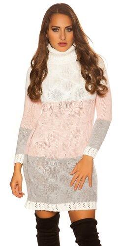 Trojfarebné úpletové rolákové šaty | Biela