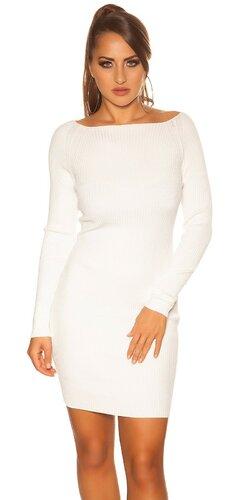 Vrúbkované dámske pletené šaty   Biela