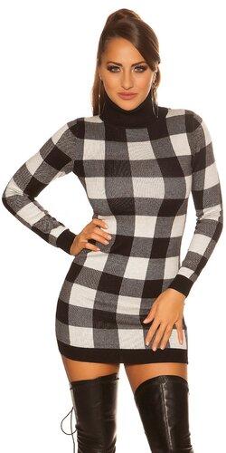 Dámske rolákové pletené mini šaty kockované