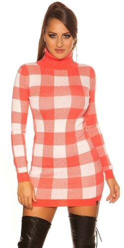 Dámske rolákové pletené mini šaty kockované | Koralová