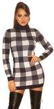 Dámske rolákové pletené mini šaty kockované Tmavomodrá
