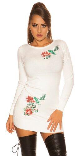 Kvetinové pletené šaty | Biela