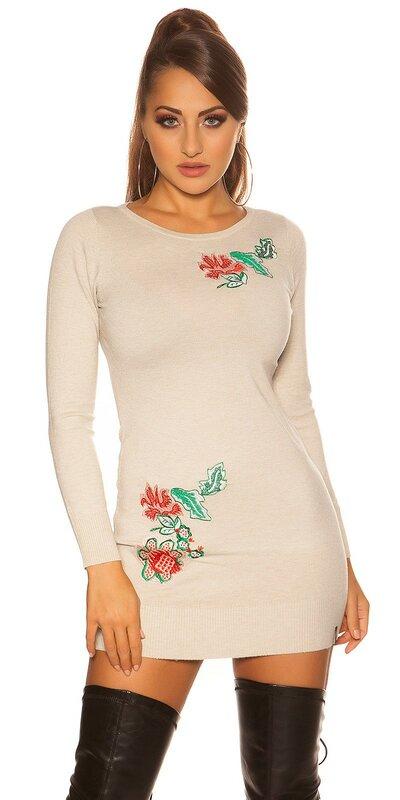 Kvetinové pletené šaty Béžová