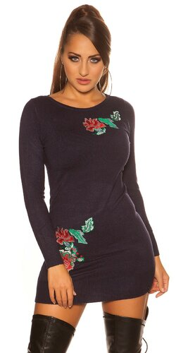 Kvetinové pletené šaty | Tmavomodrá