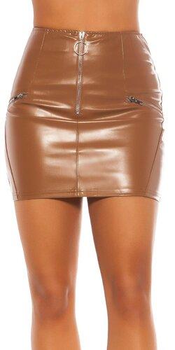 Kožená mini sukňa so zipsom vpredu | Hnedá