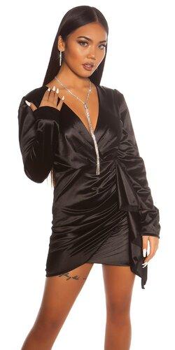 Saténové wrap šaty | Čierna