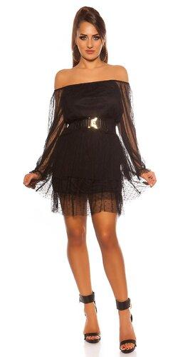 Off shoulder čierne šaty s opaskom | Čierna
