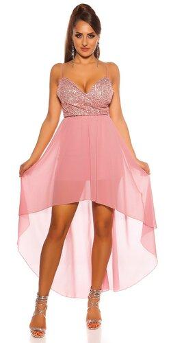 Flitrované šaty s vlečkou | Bledá ružová