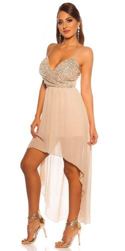 Flitrované šaty s vlečkou | Béžová
