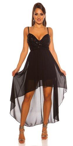Flitrované šaty s vlečkou | Čierna