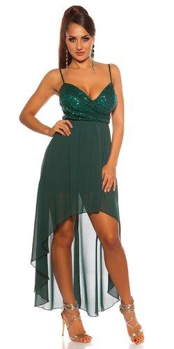 Flitrované šaty s vlečkou | Zelená