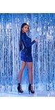Lesklé šaty s jedným rukávom Modrá