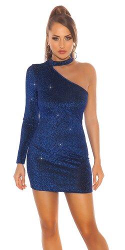 Lesklé šaty s jedným rukávom | Modrá