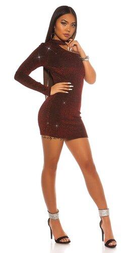 Lesklé šaty s jedným rukávom | Červená