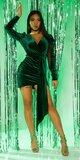 Semišové party šaty Zelená