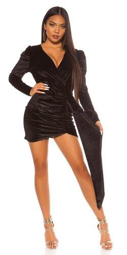 Semišové party šaty | Čierna