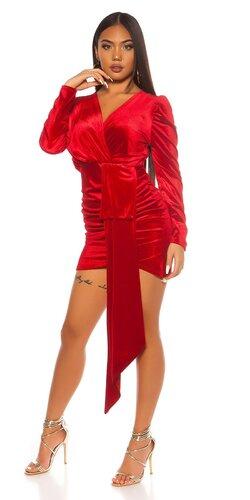 Semišové party šaty | Červená