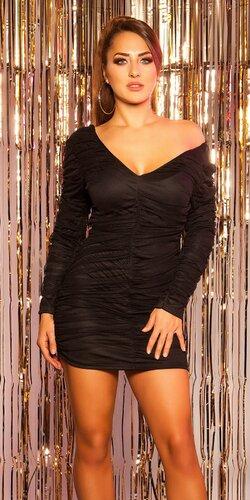Mini šaty s čiernym tylom | Čierna