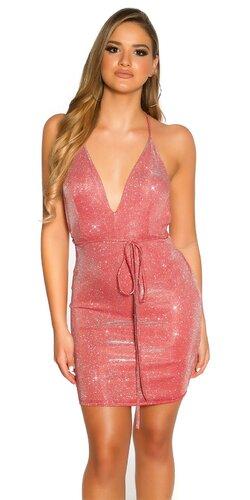 Lesklé šaty s hlbokým výstrihom | Červená