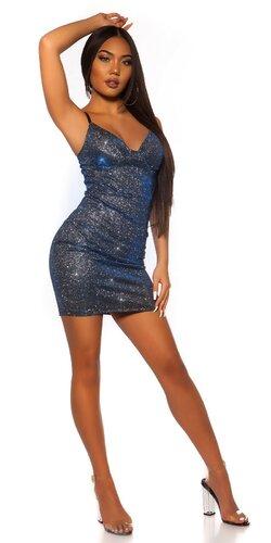 Lesklé párty šaty na ramienkach | Modrá
