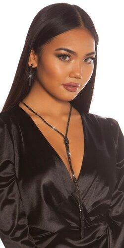 Dlhý náhrdelník s náušnicami | Čierna
