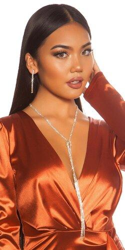 Dlhý náhrdelník s náušnicami | Zlatá