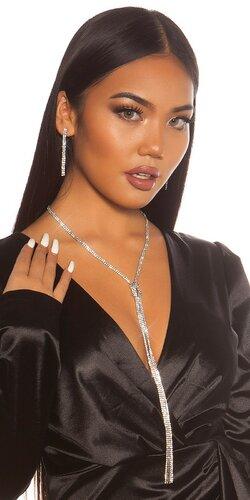 Dlhý náhrdelník s náušnicami | Strieborná