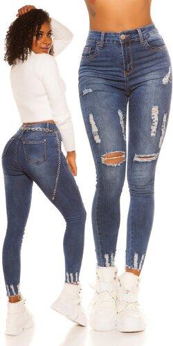 Potrhané džínsy s vysokým pásom | Modrá