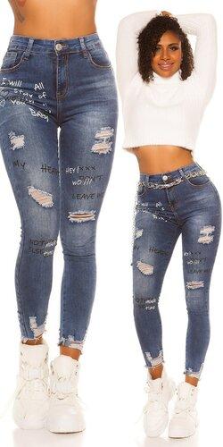 Potrhané džínsy s nápismi | Modrá