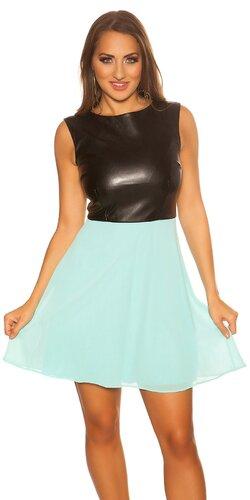 Krásne kožené šaty s áčkovou sukňou Mintová