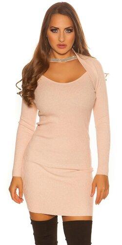 Bolerkové pletené šaty | Bledá ružová