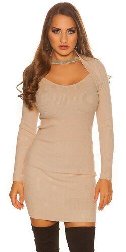 Bolerkové pletené šaty | Béžová