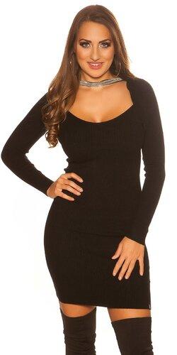 Bolerkové pletené šaty | Čierna