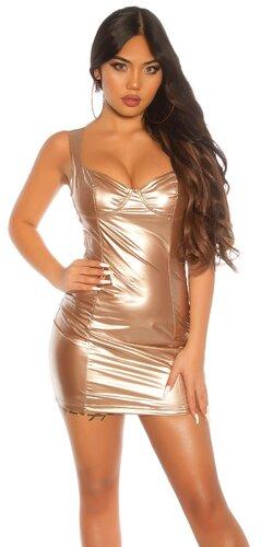 KouCla latexové mini šaty | Zlatá