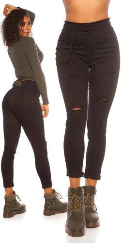 Čierne nohavice s elastickým pásom | Čierna