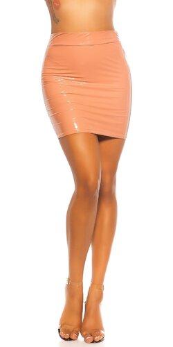 Latex look sukňa s vysokým pásom | Bledá ružová