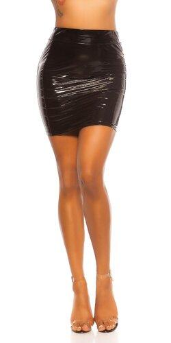 Latex look sukňa s vysokým pásom | Čierna