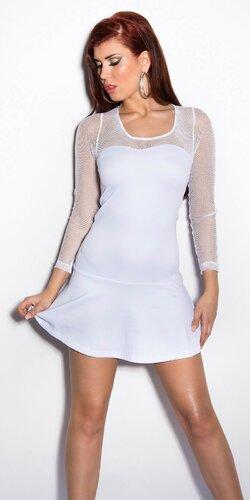 Dámske mini šaty so sieťkou na rukávoch | Biela