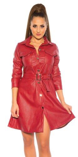 Kožené šaty s golierom