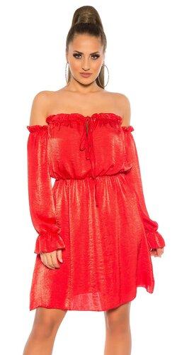 Carmen saténové mini šaty s odhalenými ramenami Červená