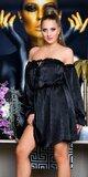 Carmen saténové mini šaty s odhalenými ramenami Čierna