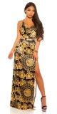 Orientálne maxi šaty na ramienkach Čierno-žltá