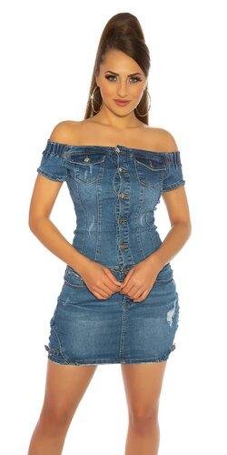 Džínsové mini šaty s odhalenými ramenami