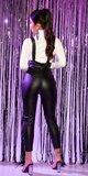 Vysoké kožené nohavice na traky Čierna
