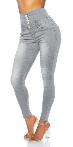 Šedé vysoké džínsy