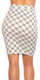 Vysoká sukňa s potlačou Biela